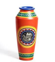 Buy Hand painted Terracotta Plum Vase With Tribal Art Motifs vase online