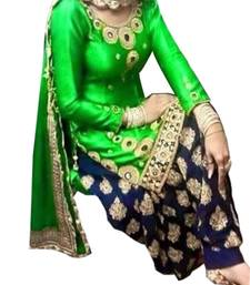 Buy green embroidered cotton_poly semi stitched salwar with dupatta black-friday-deal-sale online