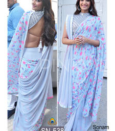 Buy blue embroidered georgette saree with blouse sonam-kapoor-saree online