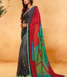 Buy Maroon printed crepe saree with blouse crepe-saree online