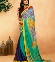 Buy Sea green printed crepe saree with blouse crepe-saree online