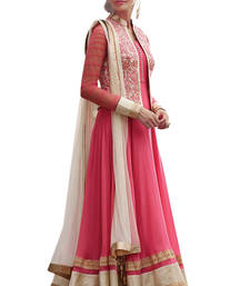 Buy Pink embroidered georgette unstitched salwar with dupatta anarkali-salwar-kameez online