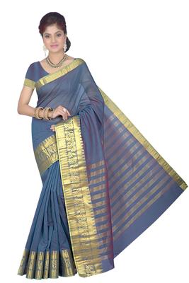 Royal blue maheshwari saree with blouse