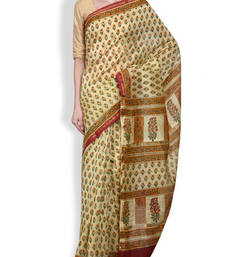Buy Cream printed saree chanderi saree chanderi-saree online