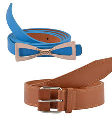 "Buy ""Brown and Blue"" Belt Combo For Womens gifts-for-sister online"