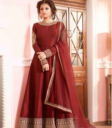 Buy Maroon embroidered art silk semi stitched salwar with dupatta anarkali-salwar-kameez online