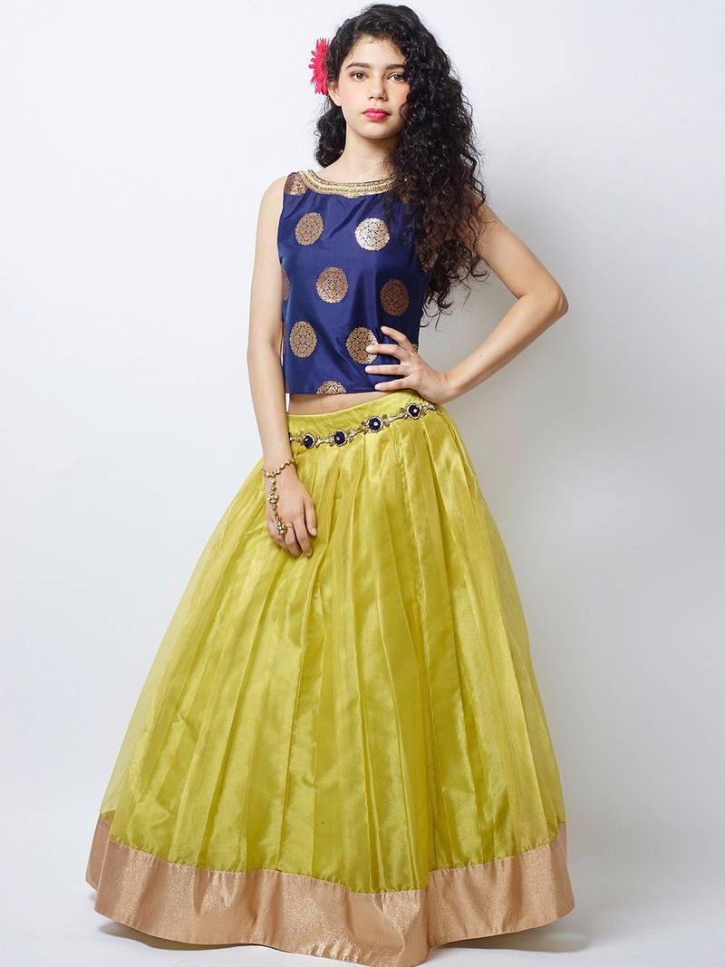 Buy Blue Yellow Net Flared Kids Lehenga Choli With
