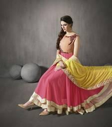 Buy Multi Colour Embroidered Gerogette Anarkali Semi-stitched Salwar Suit dress-material online