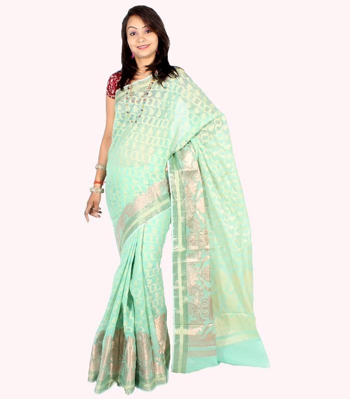 Buy Supernet Fancy Zari Patola Saree Online