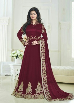Maroon embroidered georgette unstitched salwar with dupatta