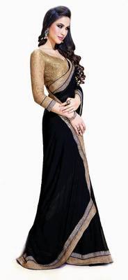 BLACK COLOR+CHIFFON FABRIC+PARTYWEAR STYLE+WITH UNSTITCHED RAW SILK BLOUSE PIECE+RACIEAL NET SLEEVES