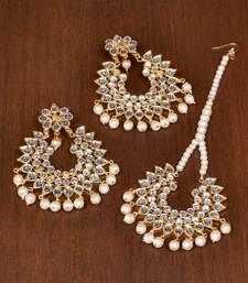 Buy White pearl danglers-drops jewellery-combo online