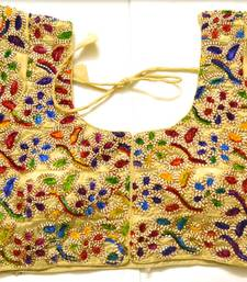Buy multicolor Kutch Embroidered Cotton Traditional Blouse blouse-fabric online