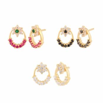 Multicolor american diamonds studs