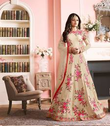 Buy Cream embroidered art silk semi stitched salwar with dupatta dress-material online