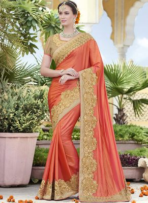 dark peach embroidered silk saree with blouse