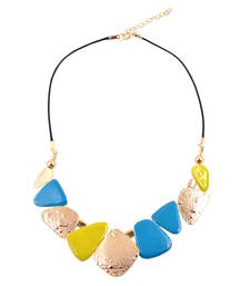 "Buy ""Real Style Is Neer Wrong"" Gold, Blue,Yellow Color Statement Necklace for Womens collar-necklace online"