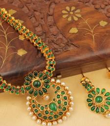 Buy BEAUTIFUL ANTIQUE GREEN NECKLACE SET-DJ05033 necklace-set online