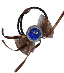 Buy Baw Knot With Colorful Quartz Design Brown Color Rubber Band Hair Accessories hair-accessory online