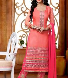 Buy Pink embroidered cotton unstitched salwar with dupatta fashion-deal online