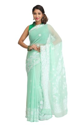 Green embroidred georgette saree with blouse