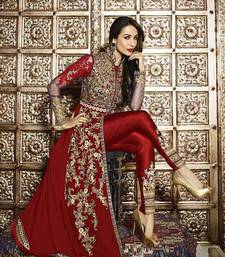 Buy Maroon embroidered georgette semi stitched salwar with dupatta eid-special-salwar-kameez online