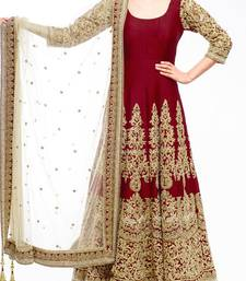 Buy Maroon embroidered bangalore silk semi stitched salwar with dupatta ready-to-ship-salwar-kameez online