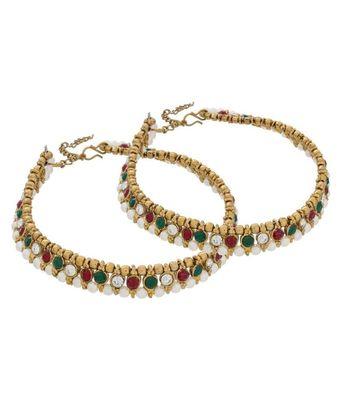 Golden Australian Malti Color Diamonds Anklets