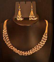Buy Designer Pearl Stone Golden Chain Necklace set with Matching Earrings necklace-set online
