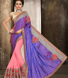 Buy Violet embroidered satin saree with blouse satin-saree online