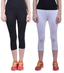 Buy Black and White plain Cotton capris-3-4-pants capris-3-4-pant online
