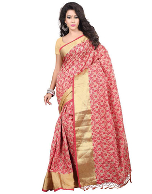 Red color  tussar silk saree with blouse