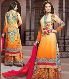 Buy Cream georgette semi stitched salwar with dupatta silk-georgette-salwar online