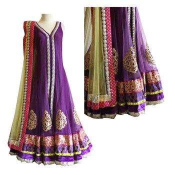 Parpal embroidered long gown: mono net lehenga with choli