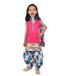 Buy Pink dupion silk printed floral salwar suit with lining kids-salwar-suit online