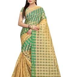 Buy Green plain cotton saree with blouse cotton-saree online