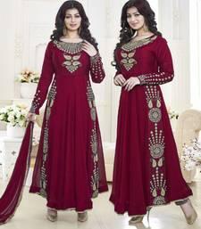 Buy Maroon embroidered georgette semi stitched salwar with dupatta ayesha-takia-salwar-kameez online