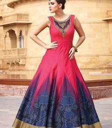 Buy Pink hand embroidery bangalore silk semi stitched salwar with dupatta party-wear-salwar-kameez online