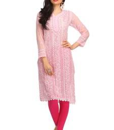 Buy Pink embroidered georgette chikankari-kurtis chikankari-kurti online