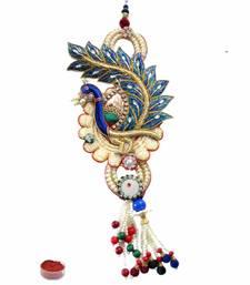 Buy Peacock designing zardosi lumba rakhi-gifts-for-brother online