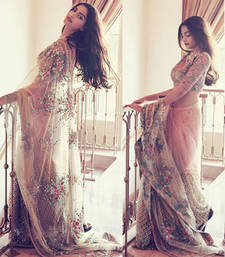 Buy Off white embroidered net saree with blouse sonam-kapoor-saree online