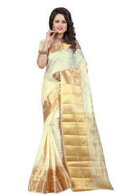 White hand woven banarasi silk saree with blouse