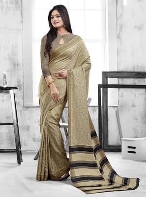 Dark beige printed art silk saree with blouse
