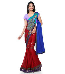 Buy Blue embroidered jacquard saree with blouse pre-stitched-saree online