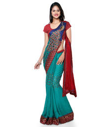 Buy Red embroidered jacquard saree with blouse pre-stitched-saree online