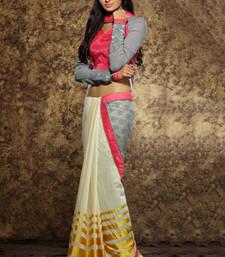 Buy Grey plain silk saree with blouse half-saree online