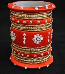 Buy Perfect for wedding orange thread work bangles bangles-and-bracelet online