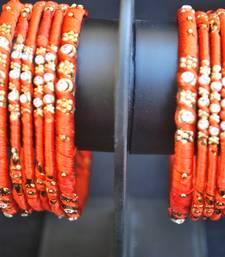 Buy Orange thread work stone studded alloy base bangles bangles-and-bracelet online