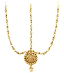Buy Golden Beige Polki Stones Matha Patti Damini Jewellery for Women - Orniza maang-tikka online