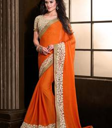 Buy Orange embroidered chiffon saree with blouse designer-embroidered-saree online